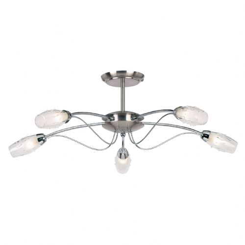 5 Light Satin Chrome Fitting + Glass + G9 9009-5SC